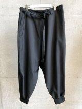 Ground Y (WRAP SARUEL RIB PANTS) BLACK